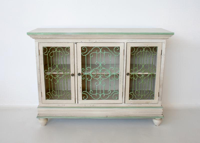3 Door Cream Amp Green Metal Filigree Cupboard 87x120x40cm