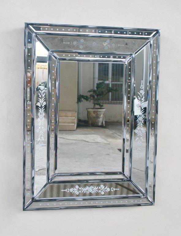 Rectangular distressed venetian mirror 60x80 5cm lemon for Miroir 60x80