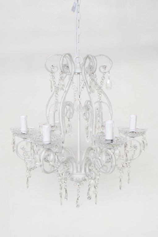6 Lights Off White Beaded Crystal Chandelier 70x56 Lemon Tree Interiors