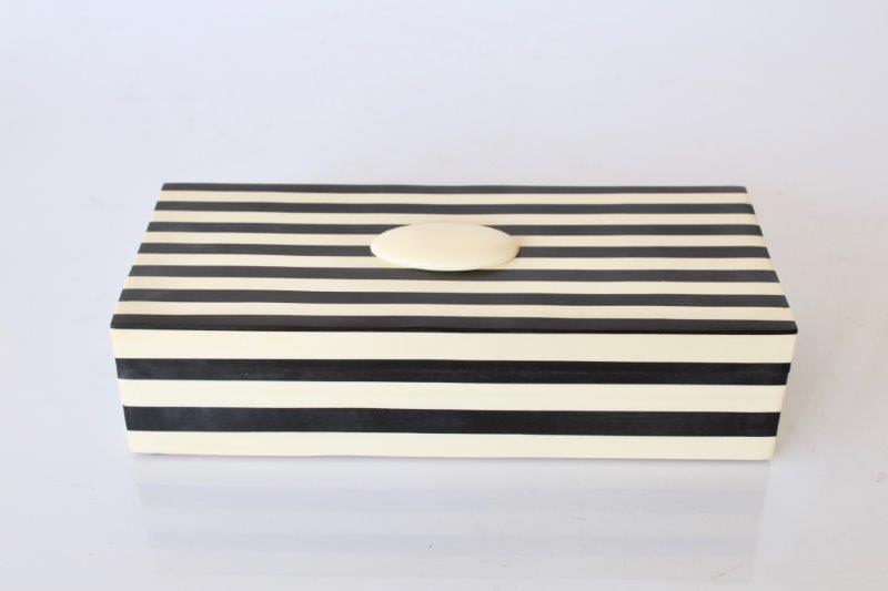 Black White Oblong Striped Box 305x8cm Lemon Tree Interiors